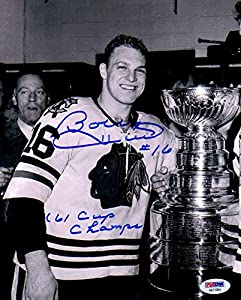 PSA/DNA Bobby Hull '61 Cup Champs Autographed Signed Chicago Blackhawks 1961 Stanley Cup 8x10 Photo Photograph