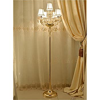 Uncle Sam Li Gold Crystal Floor Lamp With Lampshade