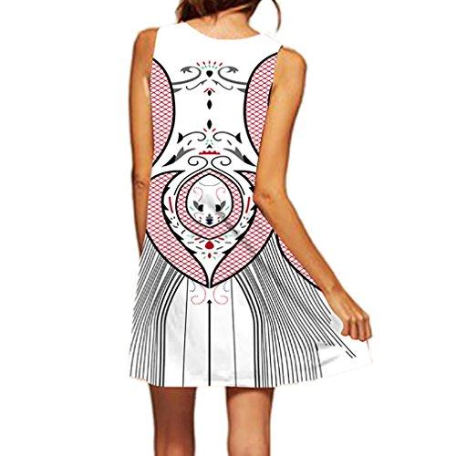 Honghu Verano Mujer Costero Fiesta Vestido Mini Sin Mangas Digital Impresión De Playas Rosa