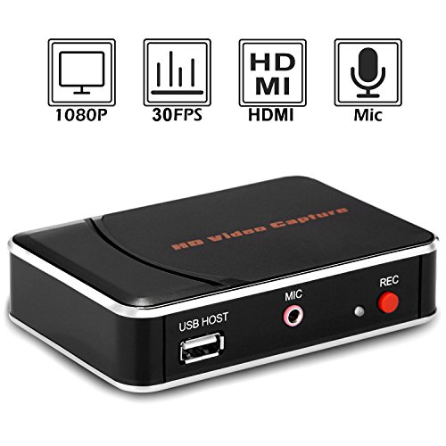 Y&H HDMI Game Capture Card,Full HD 1080P Video Recording,USB Game Capture,for Xbox 360/Xbox One/PS4/Wii U and Nintendo Switch,Support Mic in by Y&H