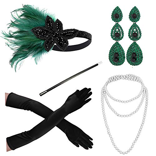 Heaven Costumes Flapper - 1920s Accessories Headband Necklace Gloves Cigarette
