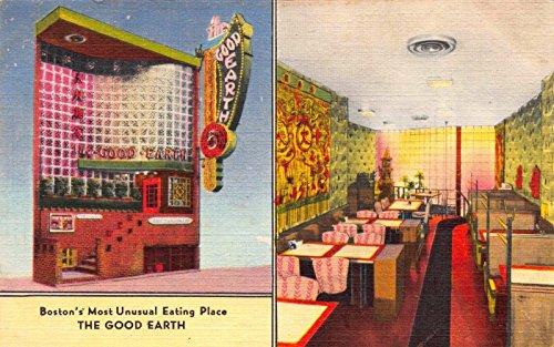 Earth Linen (Linen Postcard The Good Earth Restaurant in Boston, Massachusetts~114649)