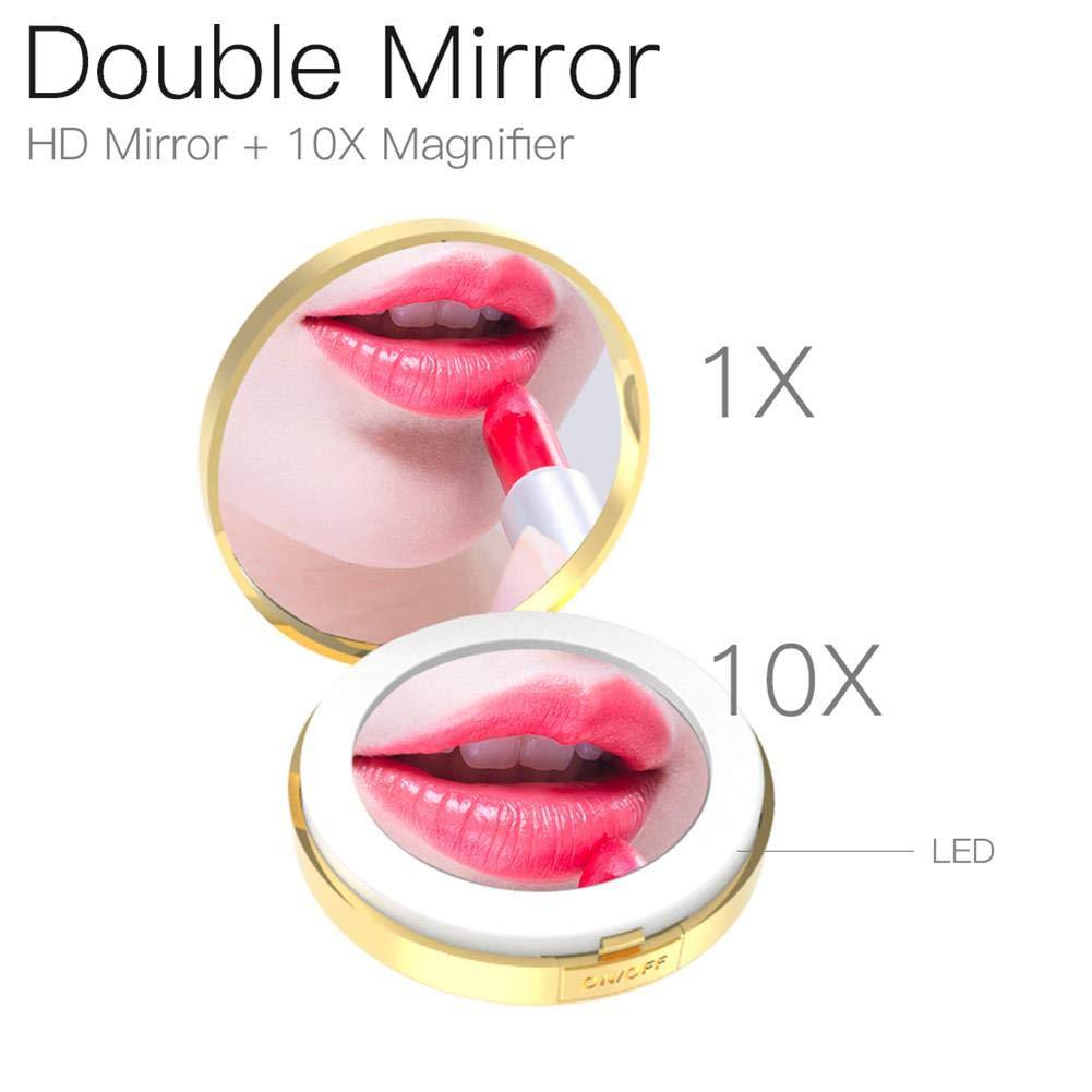 CatcherMy Make up Taschenspiegel, Schminkspiegel mit Licht Beweglicher Faltbarer doppelseitiger belichteter Spiegel für tägliche Verfassung und Reisen