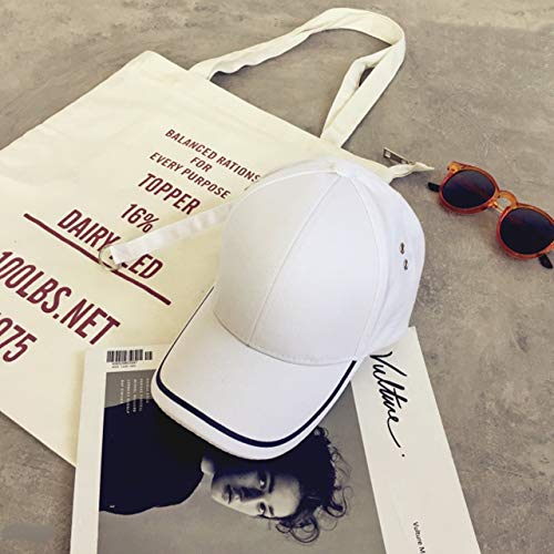 (Unique Long Strap Black White Pinstripe Base Curved Eaves Cap hat Cap Tide Casual Fashion for Men Women (White)