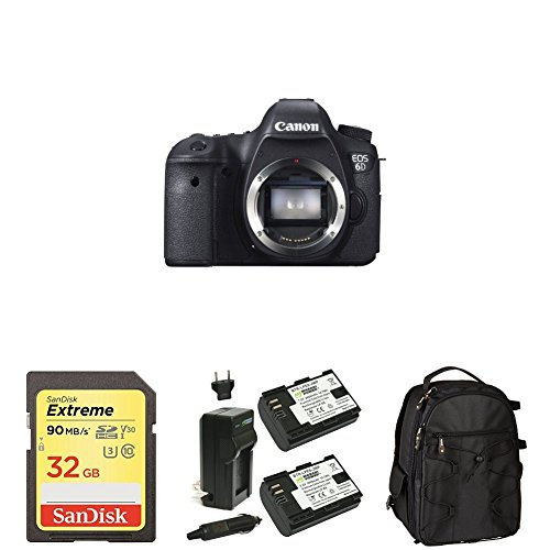 Canon EOS 6D 20.2 MP CMOS Digital SLR Camera (Body Only) with 32GB Memory Card, Extra Battery and Bag by