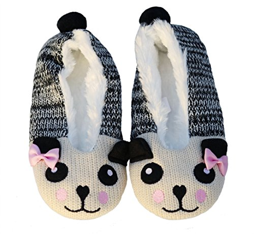 Pandaloon Womens Panda Bear Fuzzy Knit Ballet Flat Slippers (Small (US Shoe 5-6), Grey with (Panda Bear Slippers)