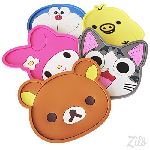 Zilo Cute Coasters - Set of 5 - Good Grip, Stain Free, Silicone Coasters - Large 5-inch Size Coasters