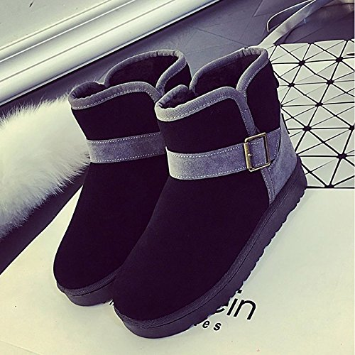 Boots Winter Buckle Calf Black PU Shoes ZHZNVX Casual Toe Mid Round Purple Heel Black Boots for Comfort Snow Women's Flat Boots HSXZ Fall FFqzI