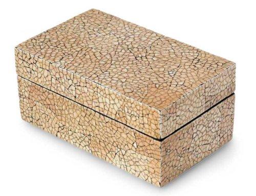 Eggshell mosaic box, 'Radiant Earth' - Handmade Lacquerware Mango Wood Box - Eggshell Mosaic Box