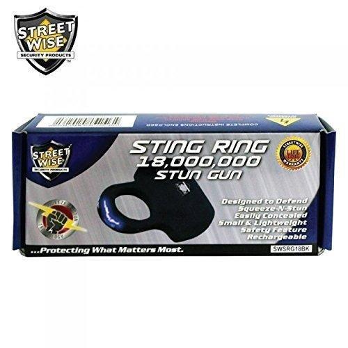 Streetwise Sting Ring 18 Million Stun Gun, Black (1 Ring)