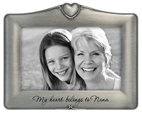 Malden International Designs Metal Sentiments My Heart Belongs to Nana Picture Frame, 4x6, Silver
