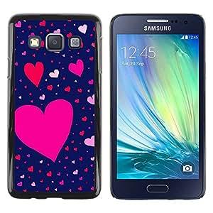 rígido protector delgado Shell Prima Delgada Casa Carcasa Funda Case Bandera Cover Armor para Samsung Galaxy A3 SM-A300 /Pink Blue Red Valentines Pattern/ STRONG