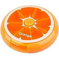 4Mybebe Pastillero Giratorio, Semanal 7 dias, Dispensador de pastillas Frutas (Naranja)