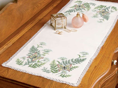 Dimensions Butterflies And Fern Dresser Scarf Stamped Cross Stitch-14 Inch x37 Inch