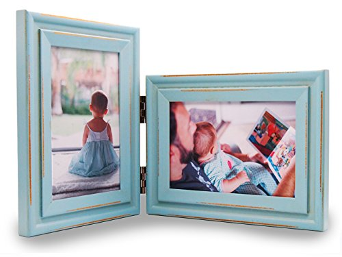 Vertical and Horizontal Combo - YoMee Double 4x6 inch Light-blue Wood Picture Frame Collage - Portrait and Landscape View