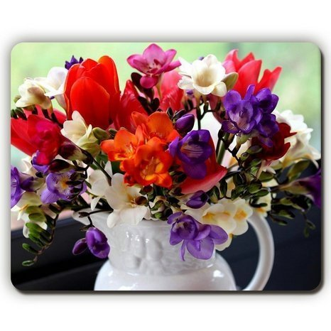 made Mouse Pad,Tulips Freesia Flowers Bouquet Pitcher Window,Game Office (Freesia Bouquet)