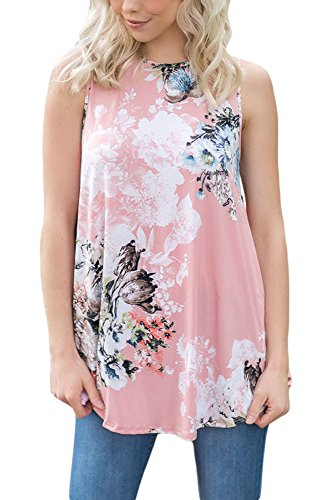 en Juniors Casual Summer Sleeveless Floral Tops and Blouses Fashion 2018 Plus Size Pink (Juniors Pink Sleeveless Top)