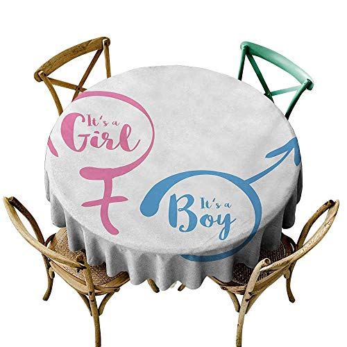 Pink Plaid Announcement - StarsART Round Tablecloth Plaid Gender Reveal,Text with Boy and Girl Gender Sign Simplistic Announcement Print,Pale Pink and Blue D65,Rectangle Desk Cloth