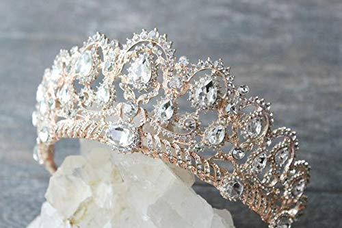 SNOWH Rhinestone Wedding Tiaras and Crowns - Rose Gold Bridal Crown Princess Tiara Jewelry Headpieces with Comb for Women and Girls]()