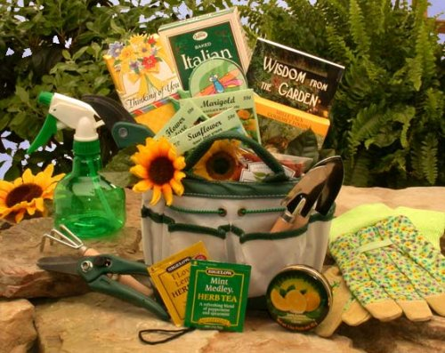 Garden Just Because Basket - Gardening Tote and Treats Gift Basket -Mother's Day, Birthday, or Holiday Gift Idea for Her