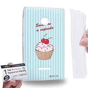 Case88 [Nokia Lumia 435] Gel TPU Carcasa/Funda & Tarjeta de garantía - Art Drawing Sweet As A Cupcake Blue Art0802