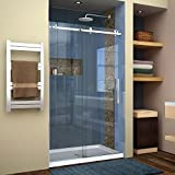 DreamLine Enigma Air 44-48 in. W x 76 in. H Frameless Sliding Shower Door in Brushed Stainless Steel, SHDR-64487610-07
