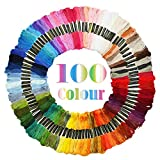 Maggift Rainbow Color Embroidery Thread,Cross Stitch Threads, Bracelets Floss, Crafts Floss, 100 Skeins
