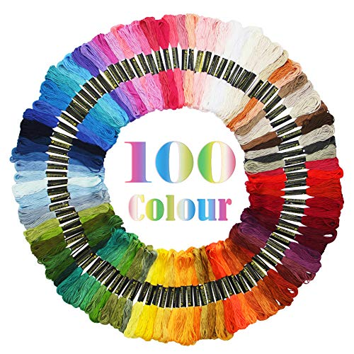 Maggift Rainbow Color Embroidery Thread,Cross Stitch Threads, Bracelets Floss, Crafts Floss, 100 -
