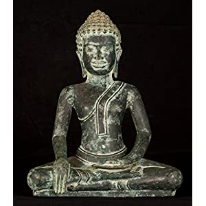 HD Asian Art 18th Century Dvaravati Thai Enlightenment Buddha Statue 48
