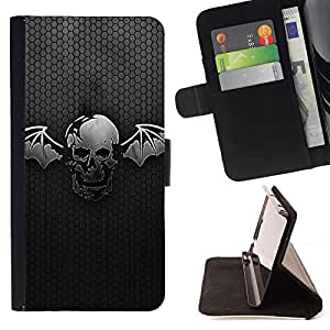 Super Marley Shop - Leather Foilo Wallet Cover Case with Magnetic Closure FOR HTC One M9- Skull Devil Pattern