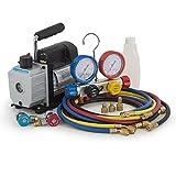 digital ac gauges r22 r134 r410a - ARKSEN Manifold Gauge Kit 4-Hose Set w/ Coupler R410 R22 R134 R407C + 4CFM Rotary Vacuum Pump