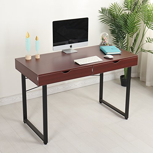Mr Ironstone Modern Computer Desk 47'' PC Laptop Study Writing Table Multipurpose Workstation for Home Office Computer Table with 2 Drawers, Leg Reinforcement, Brown by Mr IRONSTONE