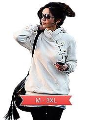 VU*LK Women's Plus Size White/Black Causal Hoodies,Long Sleeve , xl
