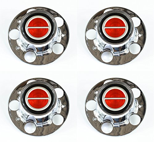 (Ford Ranger Bronco II Explorer Chrome Wheel Center Caps Red center set of)