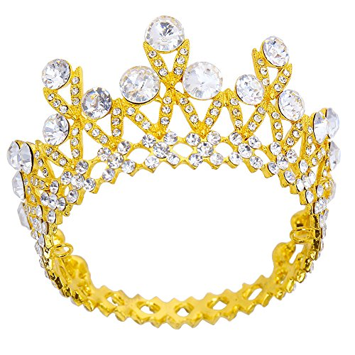 pensoda gold vintage crown 1st birthday cake topper baby shower bridal shower supplies party cake decorations premium quality crown metal crystal tiara