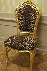 Silla de comedor de estilo barroco, diseño de leopardo