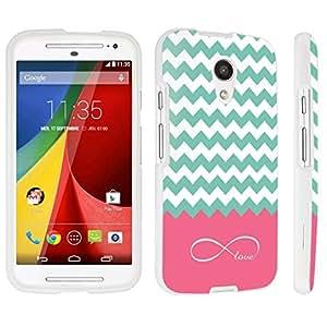 DuroCase ? Motorola Moto G 2nd Gen. 2014 Hard Case White - (Infinity Love Chevron)