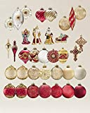 Noel Christmas Ornament Set, Burgundy and Gold, (35 pcs)