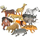 Toy Spout 12 Realistic Animal Toy Figures by Educational Toys, Zoo Animals, Preschool Toys –Wild Vinyl Plastic Learning Party Favors for Boys Girls Kids Toddlers Forest Small Farm Animals Toys