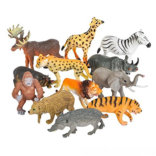 Toy Spout 12 Realistic Animal Toy Figures by Educational Toys, Zoo Animals, Preschool Toys –Wild Vinyl Plastic Learning Party Favors for Boys Girls Kids Toddlers