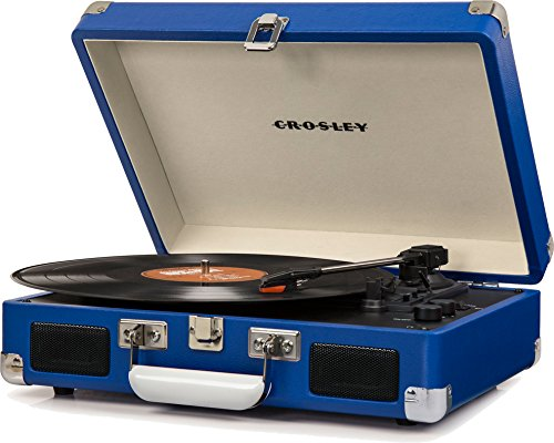 Crosley Cruiser Deluxe Vintage 3-Speed Bluetooth Suitcase Turntable, Blue