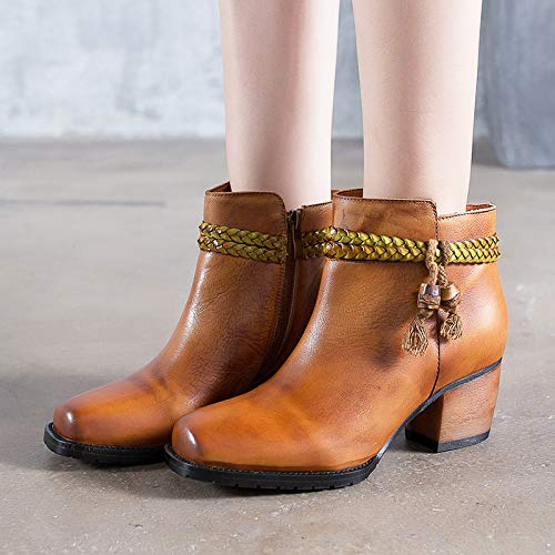 ZHRUI Frauen Stiefel Stiefel Stiefel Quaste gewebt Leder Reißverschluss Vintage Schuhe (Farbe   Braun, Größe   EU 37) 7da9a3
