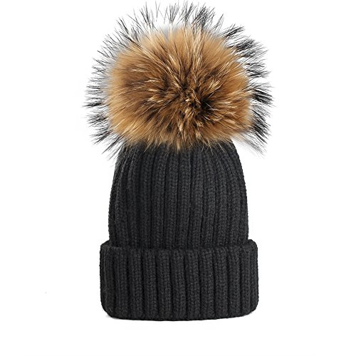 Yetagoo Kids/Adult Winter Knit Beanie Hat Large Real Raccoon Fur Pom Pom Womens Kids Bobble Hat