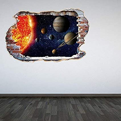 A Pieni Colori Sistema Solare Fracassato Muro 3D Effetto Spazio Galaxy Camera da letto Adesivo Da Parete Decalcomania Cameretta Bambini Decorazione - Large 60 Second Makeover Limited
