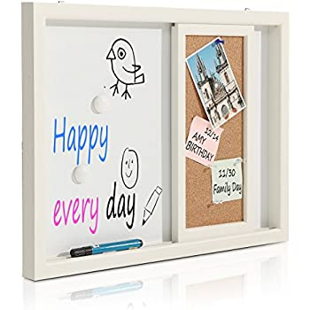 2-in-1 Wood Framed Wall Mounted Message Center w/ Erasable Magnetic Whiteboard & Sliding Cork Board