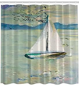 Ambesonne art shower curtain impressionist art for Bathroom paintings amazon