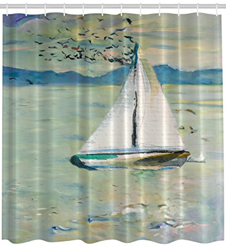 Art Shower Curtain Impressionist Art Prints Oil Paintings Decor by Ambesonne, Monet Sailing Boat Yacht with Birds Watercolor Brushstroke for Modern Bath Design Ocean and Sea View, Blue Teal White (Sailboat Shower Curtain compare prices)