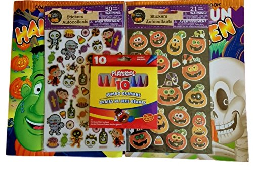 Fun for the Trick or Treater 2 - Halloween Coloring Books, Stickers, Crayons Bundle set of 5 (Parents Halloween Coloring Pages)