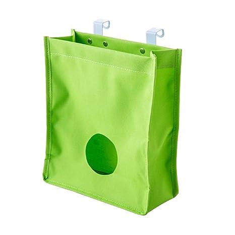 Bolsa de plástico Bolsa de reciclaje y dispensador de bolsa de transporte sobre el gabinete de armario de cocina, verde