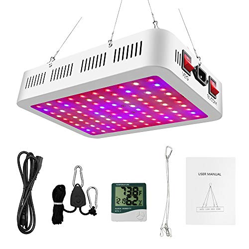 New Upgrade 1000W LED Grow Light, Dual Switch & Dual Chips Full Spectrum LED Grow Light Hydroponic Indoor Plants Veg and Flower(Actual Power 135W)